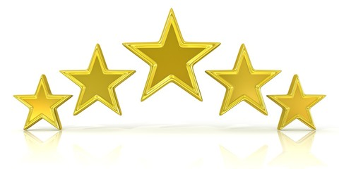 3D rendering of five gold stars isolated on white