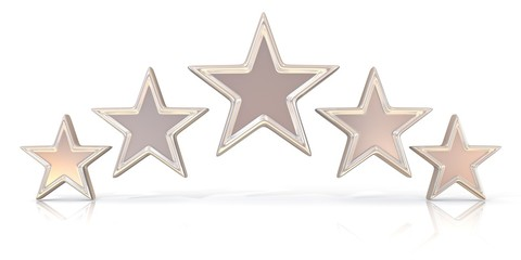 3D rendering of five silver stars isolated on white