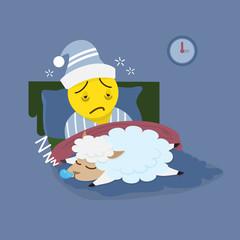 Insomnia man with sleeping sheep