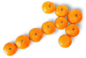 Ripe Juicy Orange Tangerine Lined As A Arrow