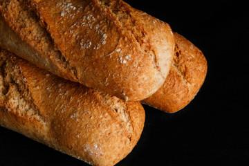 Bread on black background