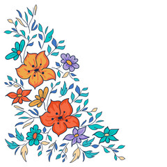 Vector hand-drawn pattern with flowers and leaves. Colorful flor
