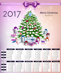 Calendar with christmas tree and gifts on 2017 in vector