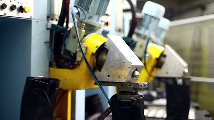 Close-up of machine started in manufacture