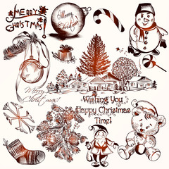 Collection of vector hand drawn Christmas elements in vintage st