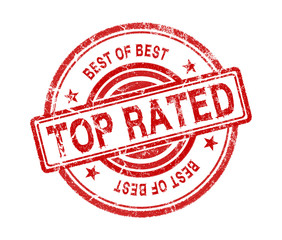 top rated stamp on white background