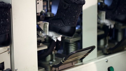 Machine in workshop production of footwear