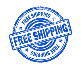free shipping stamp on white background