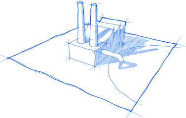 sketch of factory with shadows and no background