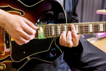 Guitarist playing in jazz band