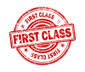 first class stamp on white background