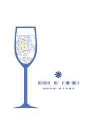 Vector ornamental abstract swirls wine glass silhouette pattern