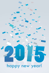 Happy new year blue numbers card confetti