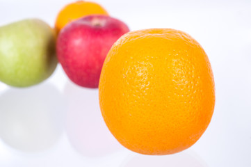 orange on Mixed fruits  background