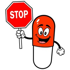 Pill Mascot with Stop Sign