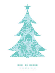 Vector soft peacock feathers Christmas tree silhouette pattern