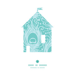 Vector soft peacock feathers house silhouette pattern frame