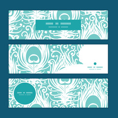 Vector soft peacock feathers horizontal banners set pattern