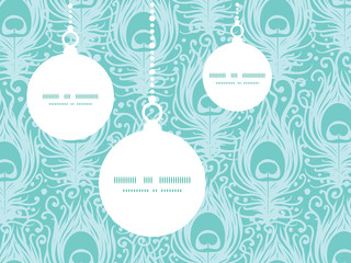 Vector soft peacock feathers Christmas ornaments silhouettes