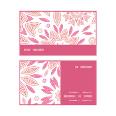 Vector pink abstract flowers horizontal stripe frame pattern