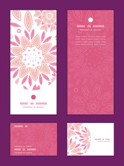 Vector pink abstract flowers vertical frame pattern invitation