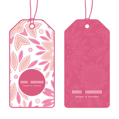 Vector pink abstract flowers vertical round frame pattern tags