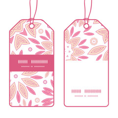 Vector pink abstract flowers vertical stripe frame pattern tags