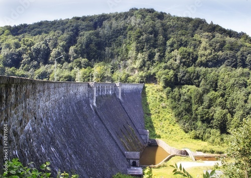 The dam on the lake Bystrzyca in Poland, Europe - 74970614