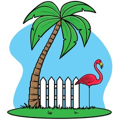 Plastic Flamingo with Palm tree