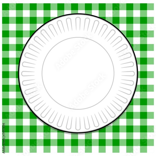 Plate with Green Picnic Tablecloth - 74971014