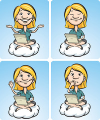 Cartoon business woman on a cloud with laptop