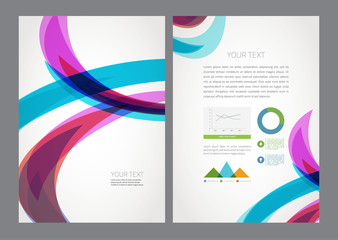 Abstract modern bright multicolored wave flyer.