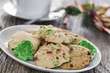 Christmas holiday cookies on a rustic wood background