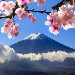 the sacred mountain of Fuji in the background of blue sky at Jap