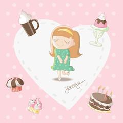 Yummy - Girl dreaming of sweet stuff bakery