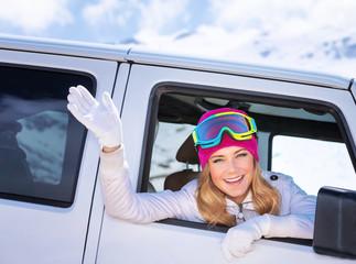 Happy girl enjoying winter sports