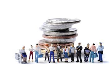 日本のお金とたくさんの人間
