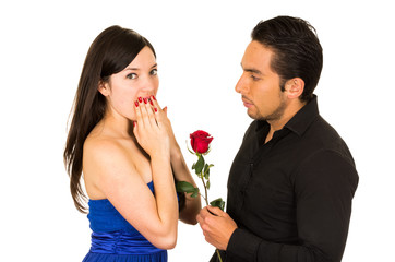 young beautiful girl receiving red rose from handsome man