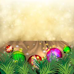 Beautiful Christmas scene on wood vector background
