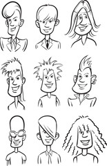 whiteboard drawing - Rock stars cartoon faces