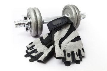 Dumbbell and Fitness Gloves on white background