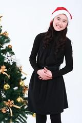 산타 복장을 한 여자 소녀와 선물들