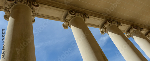 Pillars of Law and Justice with Blue Sky - 74974273