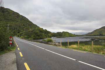 Road in National park Connemara.