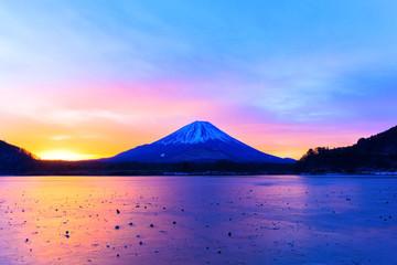 Mount Fuji and Lake Shojiko at early morning