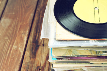 records stack and old record. vintage filtered