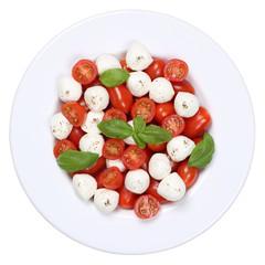 Caprese Salat mit Cocktailtomaten und Mozzarella von oben