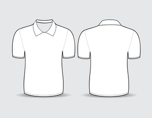 Vector illustration of white polo t-shirt Front and back views