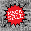 Comic book explosion with text Mega Sale, vector
