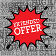 Comic book explosion with text Extended Offer, vector
